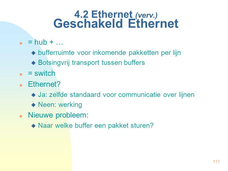 111 4.2 Ethernet (verv.) Geschakeld Ethernet = hub + …  bufferruimte voor inkomende pakketten per lijn  Botsingvrij transport tussen buffers = switc