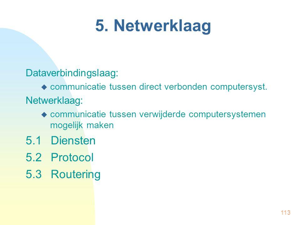 113 5. Netwerklaag Dataverbindingslaag:  communicatie tussen direct verbonden computersyst. Netwerklaag:  communicatie tussen verwijderde computersy