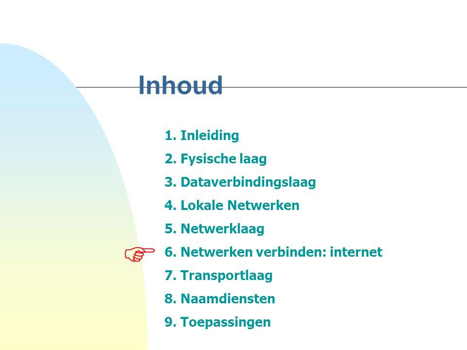 Inhoud 1. Inleiding 2. Fysische laag 3. Dataverbindingslaag 4. Lokale Netwerken 5. Netwerklaag 6. Netwerken verbinden: internet 7. Transportlaag 8. Na
