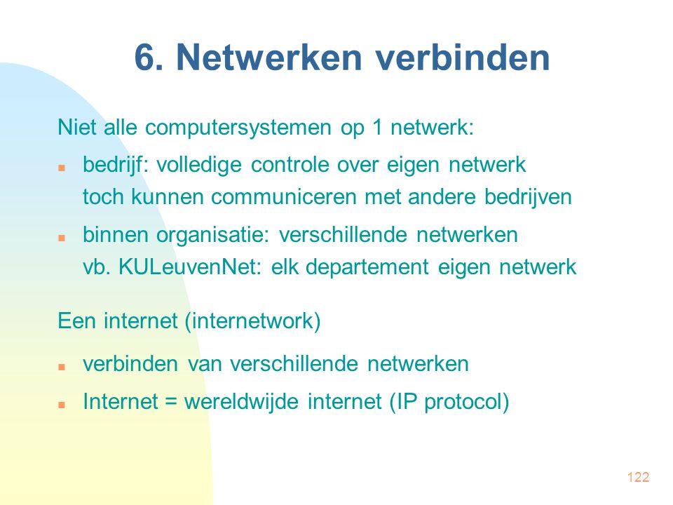 122 6. Netwerken verbinden Niet alle computersystemen op 1 netwerk: bedrijf: volledige controle over eigen netwerk toch kunnen communiceren met andere