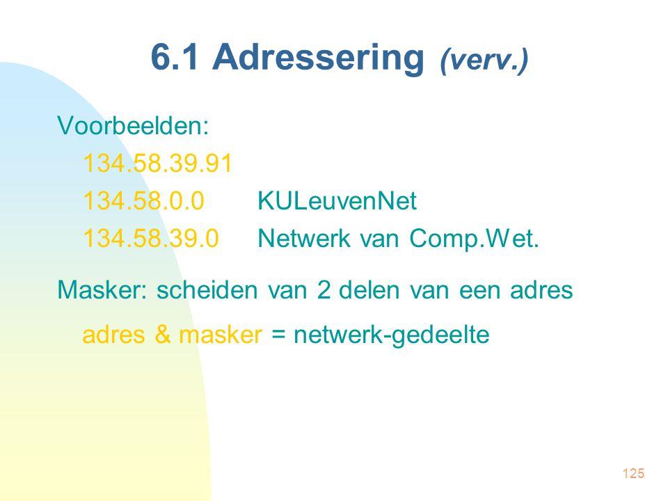 125 6.1 Adressering (verv.) Voorbeelden: 134.58.39.91 134.58.0.0KULeuvenNet 134.58.39.0Netwerk van Comp.Wet. Masker: scheiden van 2 delen van een adre