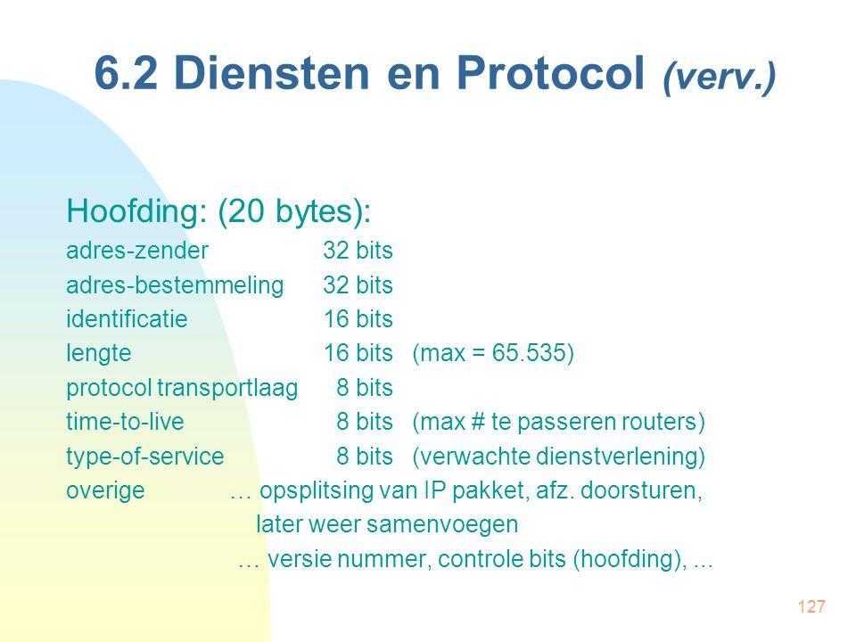 127 6.2 Diensten en Protocol (verv.) Hoofding: (20 bytes): adres-zender32 bits adres-bestemmeling32 bits identificatie16 bits lengte16 bits (max = 65.
