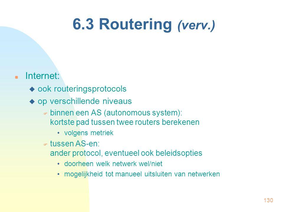 130 6.3 Routering (verv.) Internet:  ook routeringsprotocols  op verschillende niveaus  binnen een AS (autonomous system): kortste pad tussen twee