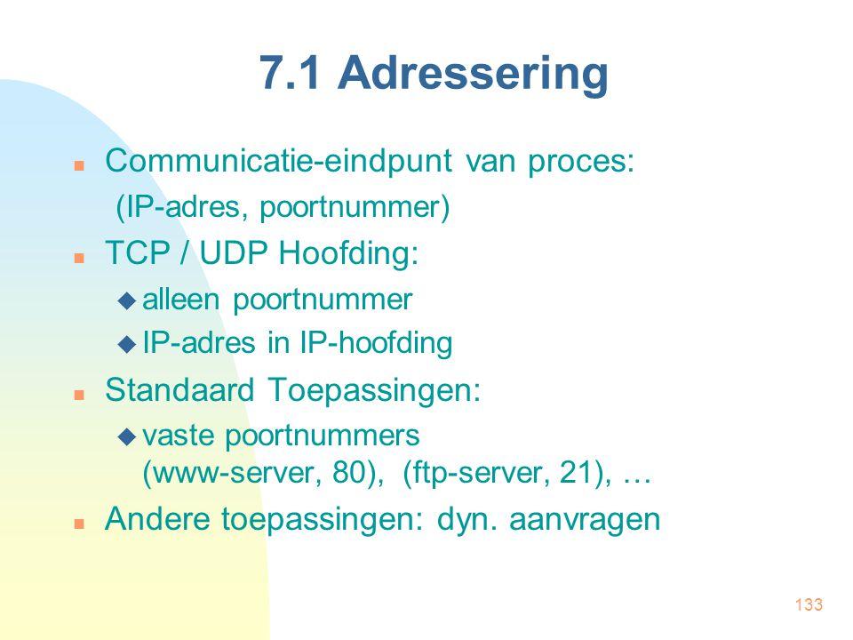 133 7.1 Adressering Communicatie-eindpunt van proces: (IP-adres, poortnummer) TCP / UDP Hoofding:  alleen poortnummer  IP-adres in IP-hoofding Stand