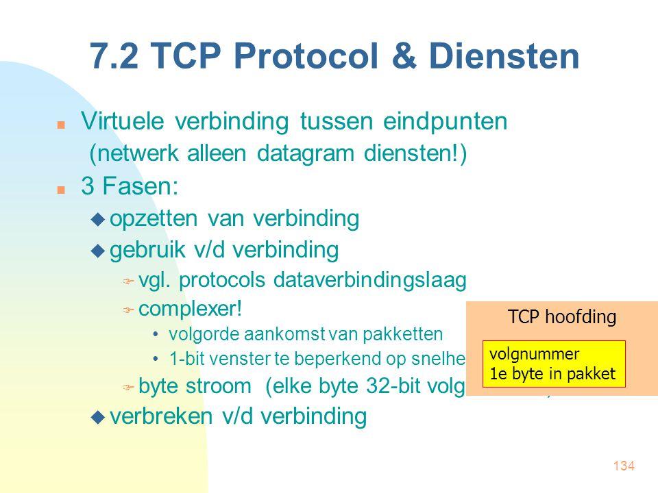 134 7.2 TCP Protocol & Diensten Virtuele verbinding tussen eindpunten (netwerk alleen datagram diensten!) 3 Fasen:  opzetten van verbinding  gebruik