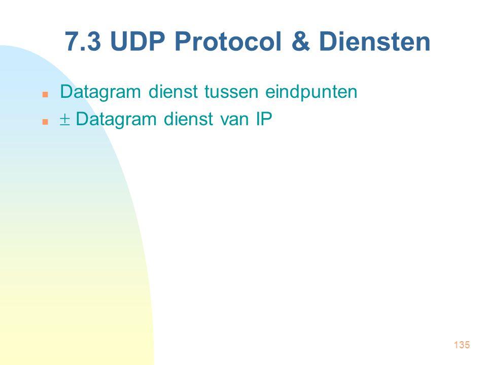 135 7.3 UDP Protocol & Diensten Datagram dienst tussen eindpunten  Datagram dienst van IP