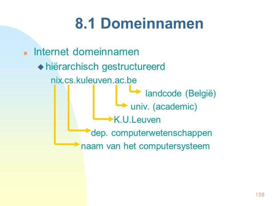 138 8.1 Domeinnamen Internet domeinnamen  hiërarchisch gestructureerd nix.cs.kuleuven.ac.be landcode (België) univ. (academic) K.U.Leuven dep. comput