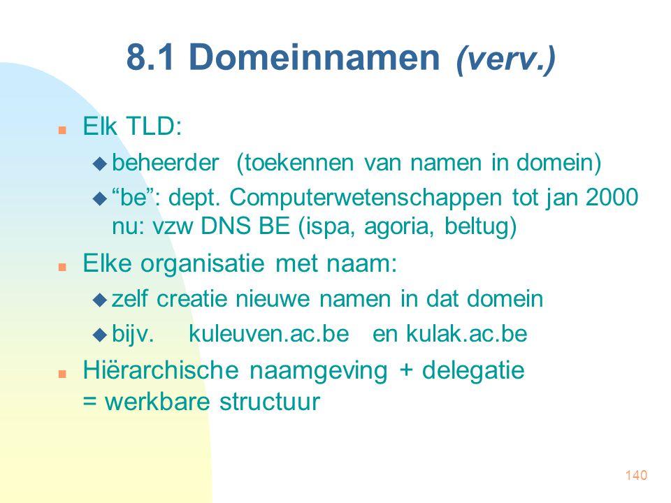 """140 8.1 Domeinnamen (verv.) Elk TLD:  beheerder (toekennen van namen in domein)  """"be"""": dept. Computerwetenschappen tot jan 2000 nu: vzw DNS BE (ispa"""