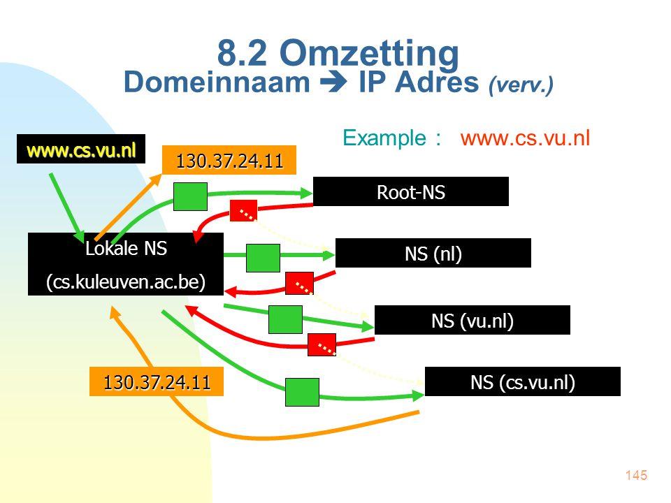 145 8.2 Omzetting Domeinnaam  IP Adres (verv.) Example : www.cs.vu.nl Lokale NS (cs.kuleuven.ac.be)www.cs.vu.nlRoot-NS NS (nl) NS (vu.nl) NS (cs.vu.n