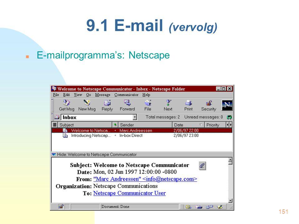 151 9.1 E-mail (vervolg) E-mailprogramma's: Netscape