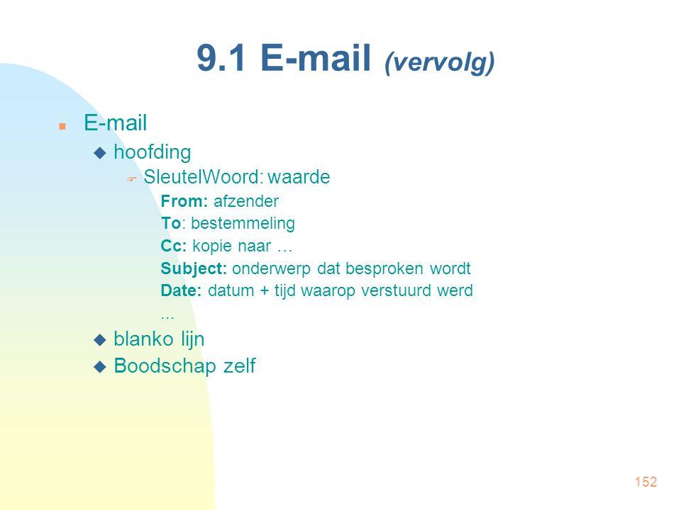 152 9.1 E-mail (vervolg) E-mail  hoofding  SleutelWoord: waarde From: afzender To: bestemmeling Cc: kopie naar … Subject: onderwerp dat besproken wo