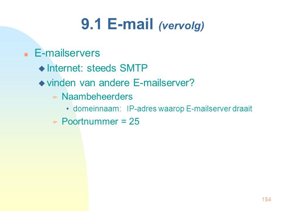 154 9.1 E-mail (vervolg) E-mailservers  Internet: steeds SMTP  vinden van andere E-mailserver?  Naambeheerders domeinnaam: IP-adres waarop E-mailse