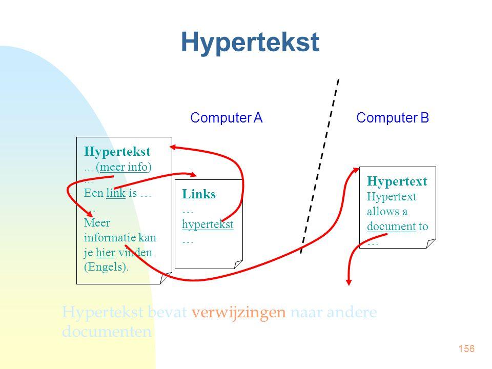 156 Hypertekst … (meer info) … Een link is … … Meer informatie kan je hier vinden (Engels). Links … hypertekst … Hypertext Hypertext allows a document