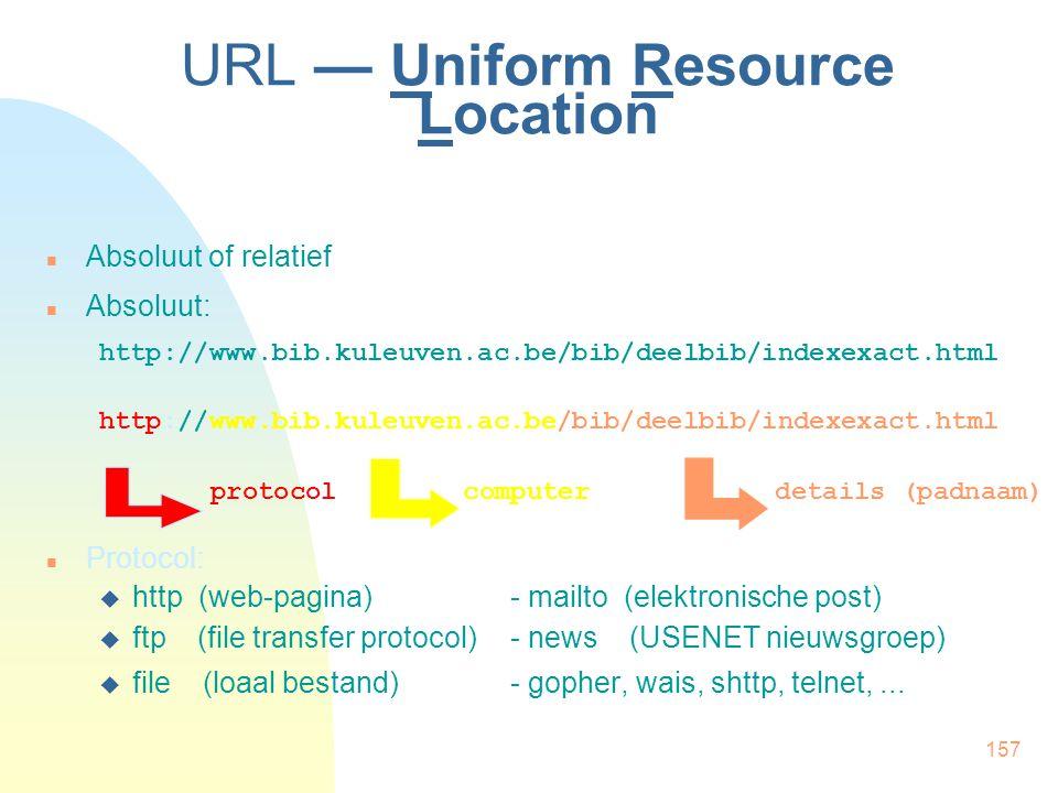 157 URL — Uniform Resource Location Absoluut of relatief Absoluut: http://www.bib.kuleuven.ac.be/bib/deelbib/indexexact.html http://www.bib.kuleuven.a