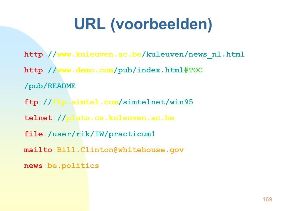 159 URL (voorbeelden) http://www.kuleuven.ac.be/kuleuven/news_nl.html http://www.demo.com/pub/index.html#TOC /pub/README ftp://ftp.simtel.com/simtelne