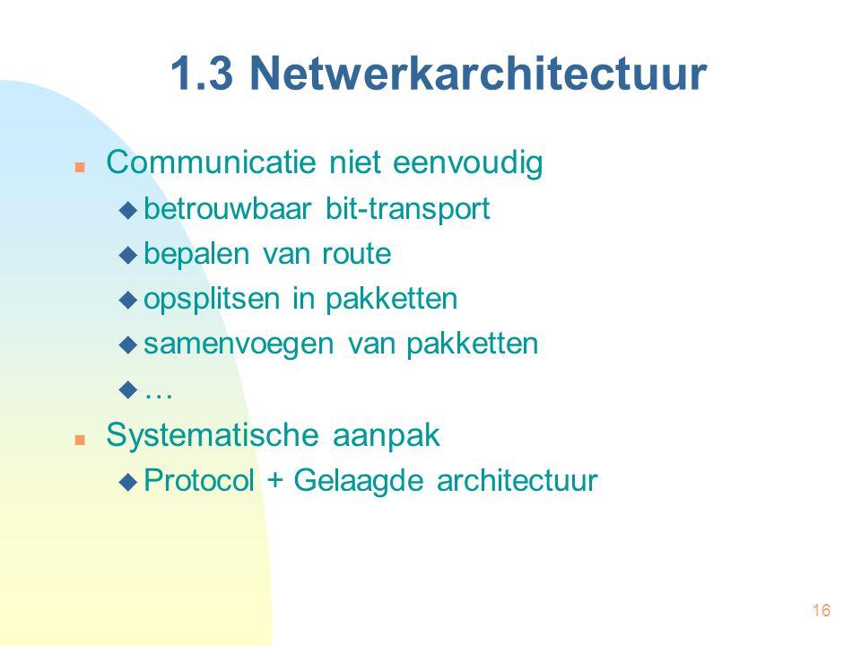 16 1.3 Netwerkarchitectuur Communicatie niet eenvoudig  betrouwbaar bit-transport  bepalen van route  opsplitsen in pakketten  samenvoegen van pak