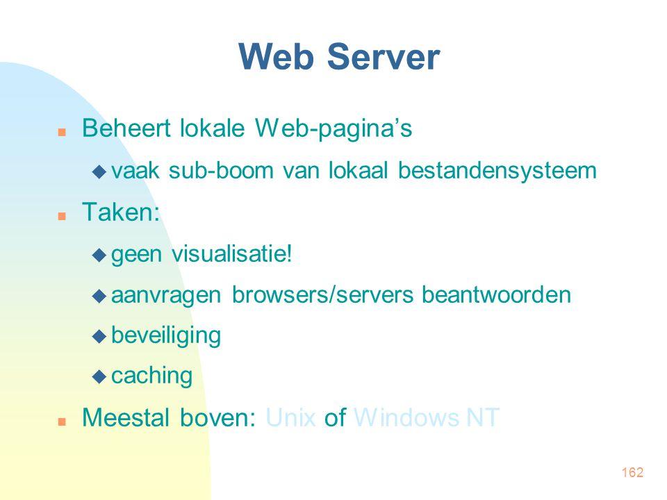 162 Web Server Beheert lokale Web-pagina's  vaak sub-boom van lokaal bestandensysteem Taken:  geen visualisatie!  aanvragen browsers/servers beantw