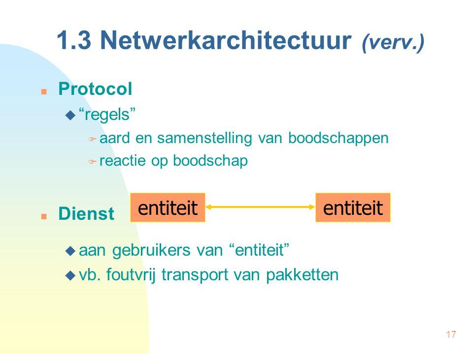 """17 1.3 Netwerkarchitectuur (verv.) Protocol  """"regels""""  aard en samenstelling van boodschappen  reactie op boodschap Dienst  aan gebruikers van """"en"""