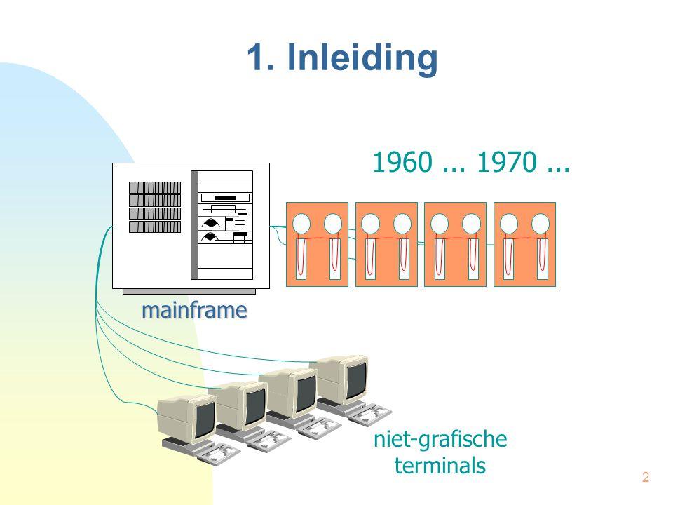 2 1. Inleiding mainframe niet-grafische terminals 1960... 1970...
