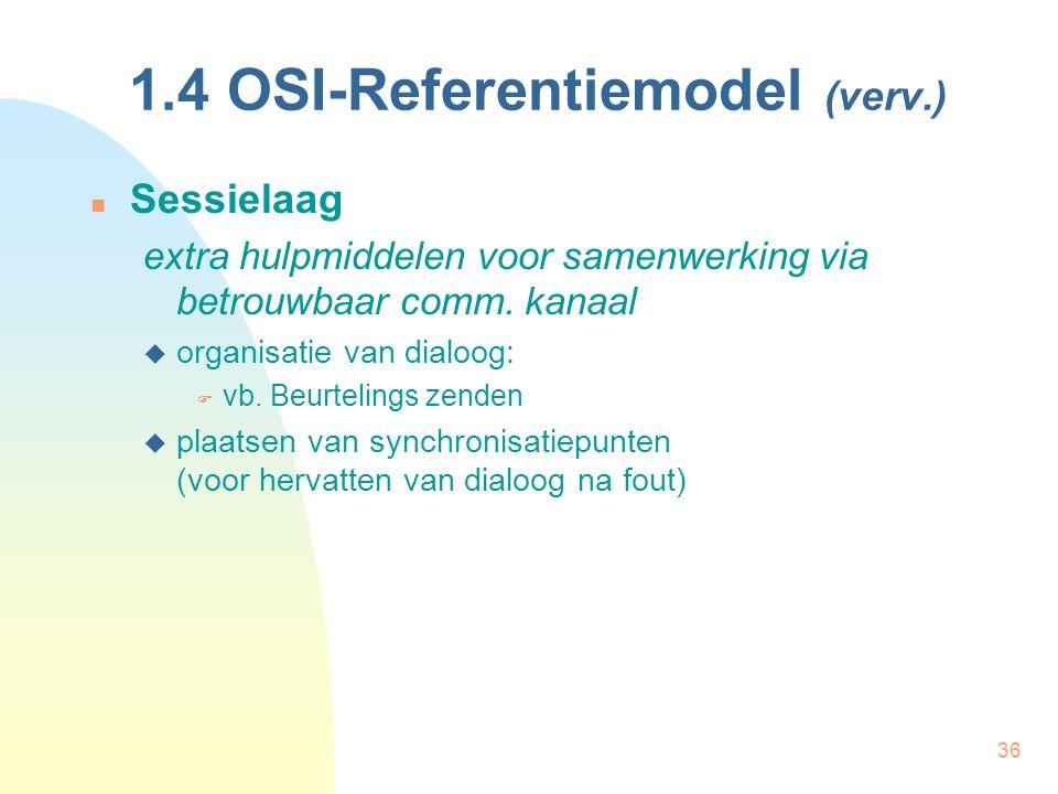 36 1.4 OSI-Referentiemodel (verv.) Sessielaag extra hulpmiddelen voor samenwerking via betrouwbaar comm. kanaal  organisatie van dialoog:  vb. Beurt