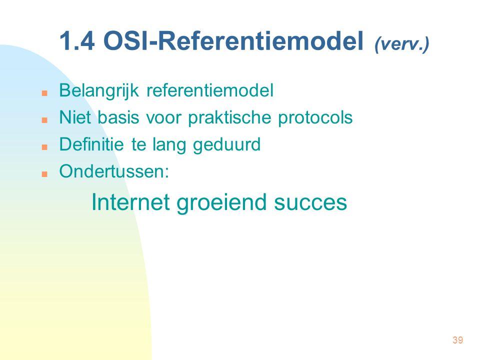 39 1.4 OSI-Referentiemodel (verv.) Belangrijk referentiemodel Niet basis voor praktische protocols Definitie te lang geduurd Ondertussen: Internet gro