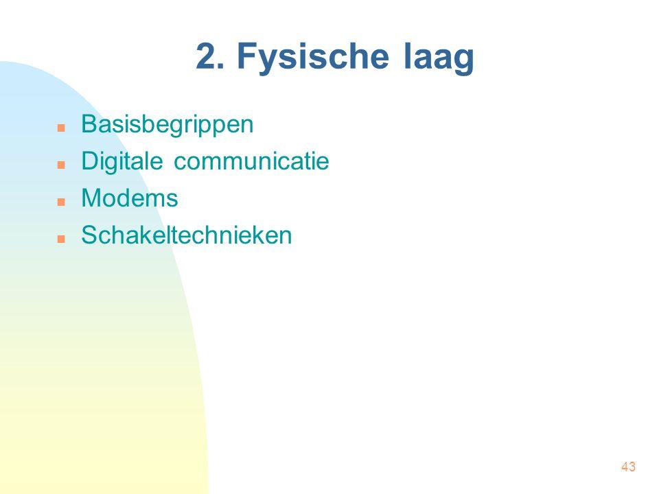43 2. Fysische laag Basisbegrippen Digitale communicatie Modems Schakeltechnieken