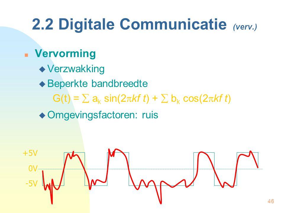46 2.2 Digitale Communicatie (verv.) Vervorming  Verzwakking  Beperkte bandbreedte G(t) =  a k sin(2  kf t) +  b k cos(2  kf t)  Omgevingsfacto