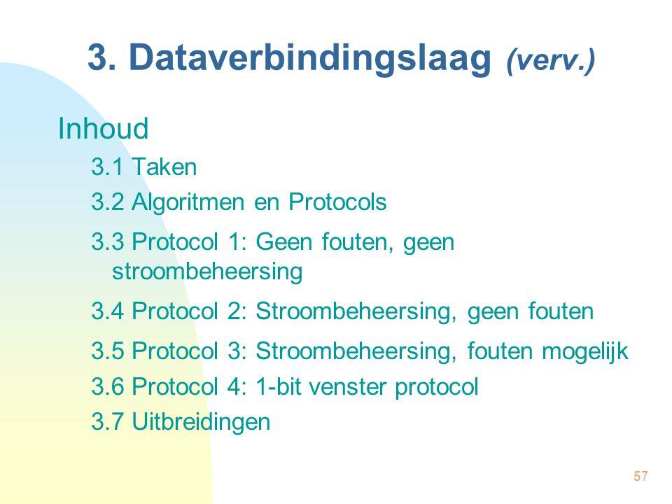 57 3. Dataverbindingslaag (verv.) Inhoud 3.1 Taken 3.2 Algoritmen en Protocols 3.3 Protocol 1: Geen fouten, geen stroombeheersing 3.4 Protocol 2: Stro