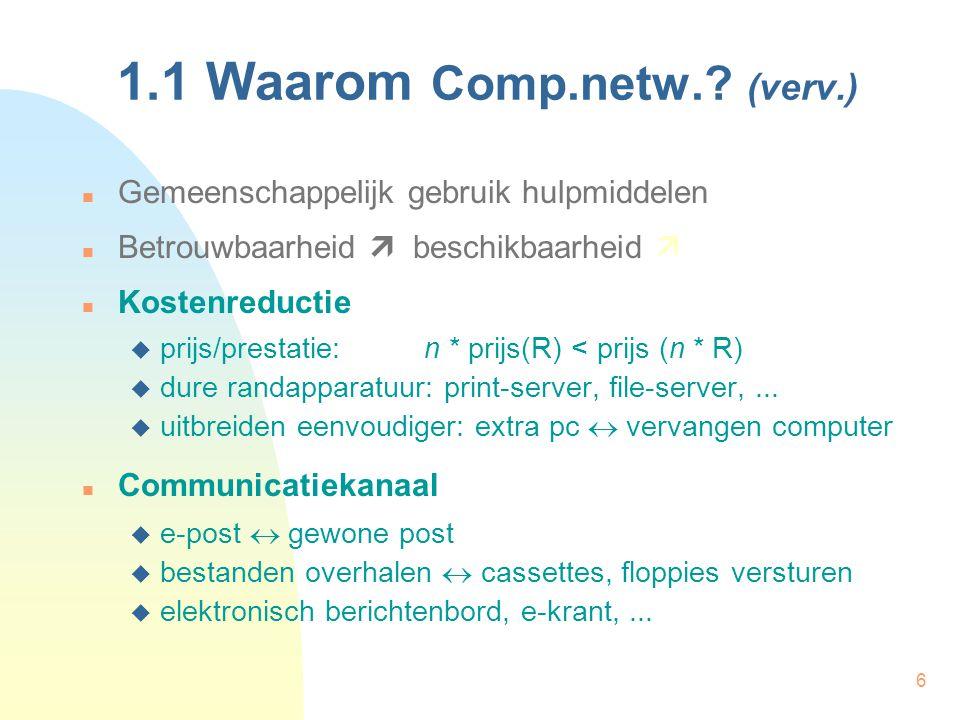 6 1.1 Waarom Comp.netw.? (verv.) Gemeenschappelijk gebruik hulpmiddelen Betrouwbaarheid  beschikbaarheid  Kostenreductie  prijs/prestatie: n * prij