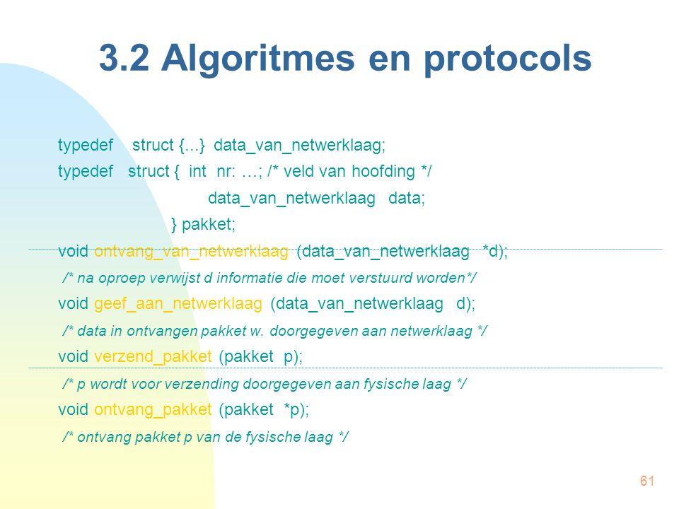 61 3.2 Algoritmes en protocols typedef struct {...} data_van_netwerklaag; typedef struct { int nr: …; /* veld van hoofding */ data_van_netwerklaag dat