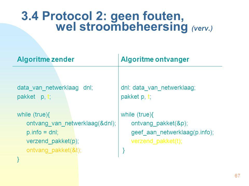 67 3.4 Protocol 2: geen fouten, wel stroombeheersing (verv.) Algoritme zenderAlgoritme ontvanger data_van_netwerklaag dnl;dnl: data_van_netwerklaag; p