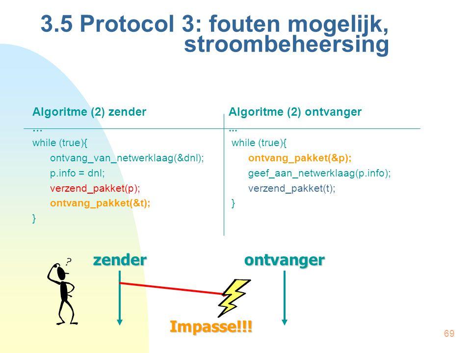 69 Algoritme (2) zenderAlgoritme (2) ontvanger …... while (true){ ontvang_van_netwerklaag(&dnl);ontvang_pakket(&p); p.info = dnl;geef_aan_netwerklaag(