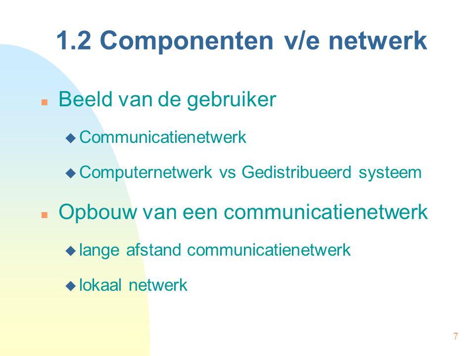 7 1.2 Componenten v/e netwerk Beeld van de gebruiker  Communicatienetwerk  Computernetwerk vs Gedistribueerd systeem Opbouw van een communicatienetw