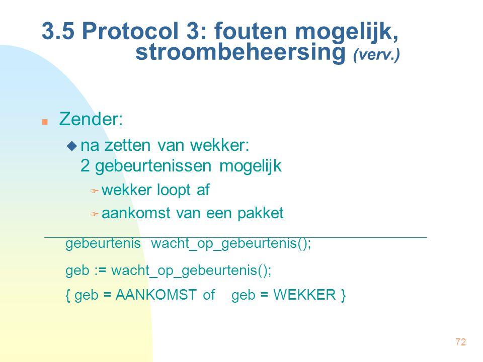 72 3.5 Protocol 3: fouten mogelijk, stroombeheersing (verv.) Zender:  na zetten van wekker: 2 gebeurtenissen mogelijk  wekker loopt af  aankomst va