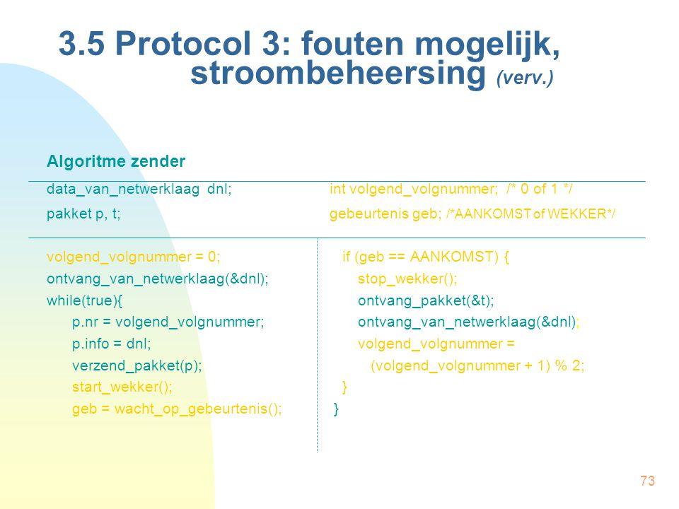 73 3.5 Protocol 3: fouten mogelijk, stroombeheersing (verv.) Algoritme zender data_van_netwerklaag dnl;int volgend_volgnummer; /* 0 of 1 */ pakket p,