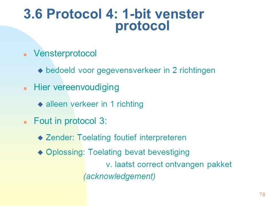 76 Vensterprotocol  bedoeld voor gegevensverkeer in 2 richtingen Hier vereenvoudiging  alleen verkeer in 1 richting Fout in protocol 3:  Zender: To