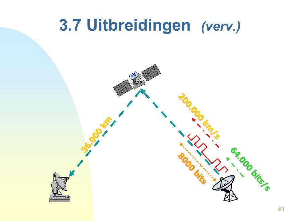 81 3.7 Uitbreidingen (verv.) 36.000 km 200.000 km/s 64.000 bits/s 8000 bits
