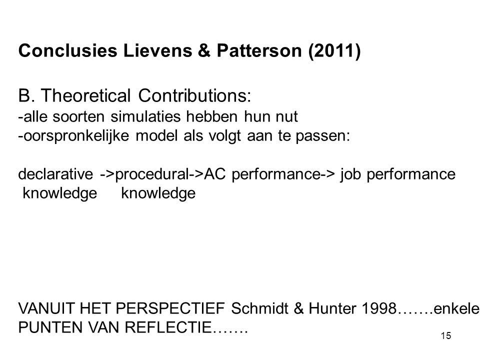 15 Conclusies Lievens & Patterson (2011) B.