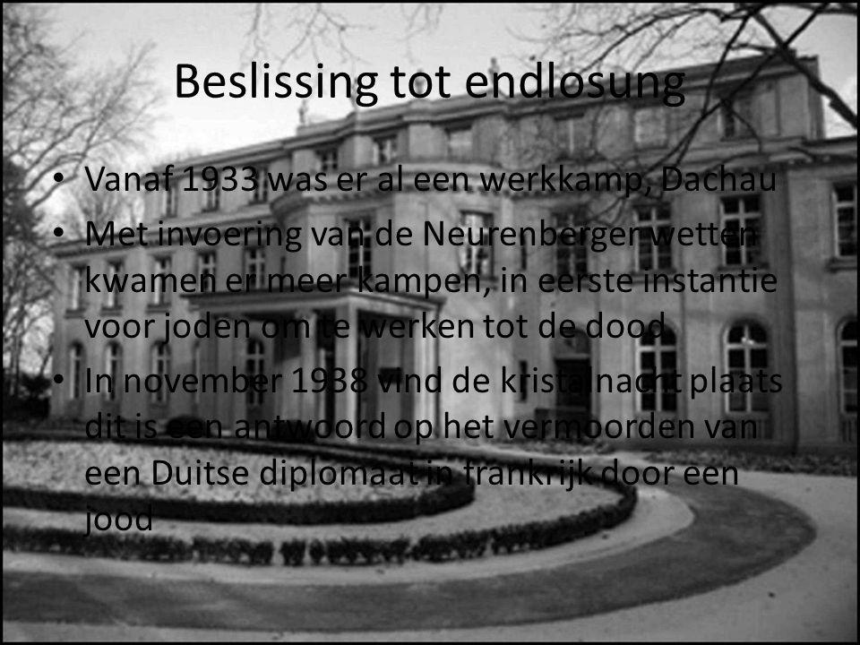 Beslissing tot endlosung Vanaf 1933 was er al een werkkamp, Dachau Met invoering van de Neurenberger wetten kwamen er meer kampen, in eerste instantie