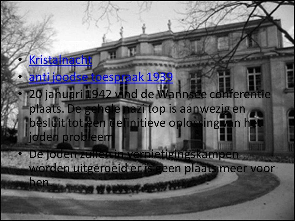 Kristalnacht anti joodse toespraak 1939 20 januari 1942 vind de Wannsee conferentie plaats.