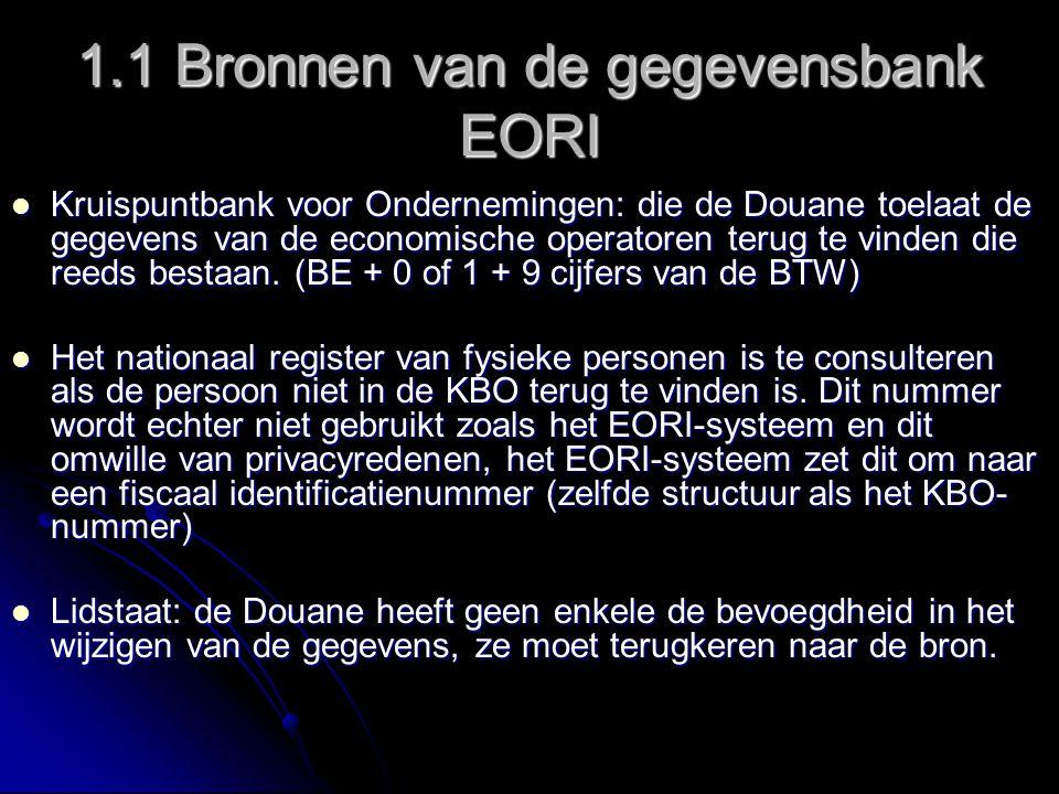 2 EORI voor economische operatoren gevestigd in een ander EU-land De operator zal moeten ingeschreven zijn in zijn land van oprichting en geen enkele EORI-inschrijving zal in België gedaan worden.