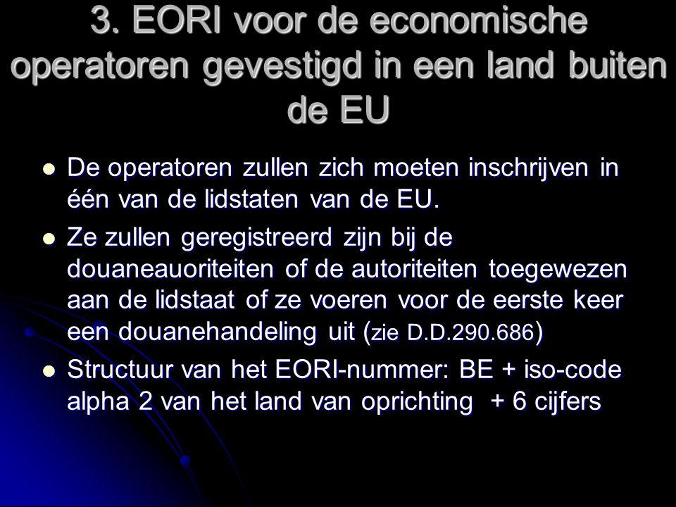 3. EORI voor de economische operatoren gevestigd in een land buiten de EU De operatoren zullen zich moeten inschrijven in één van de lidstaten van de
