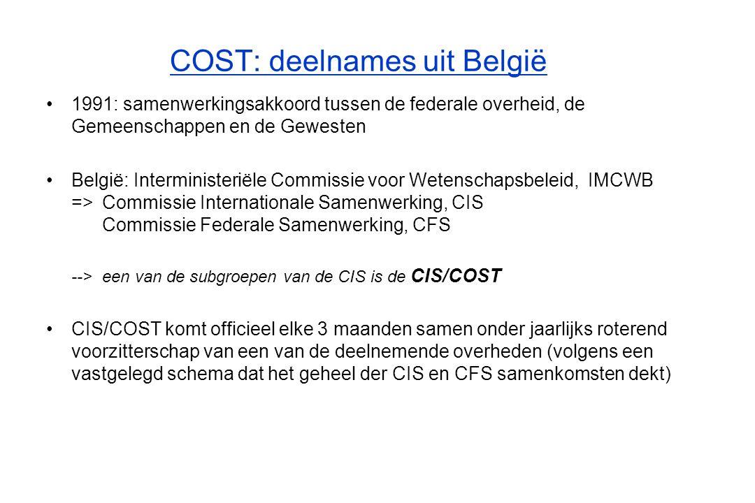 COST: deelnames uit België Doel en werking CIS/COST - deelnemers: de verschillende COST-coördinatoren uit ons land -vaststellen welke overheid / overheden bevoegd is / zijn voor elke nieuwe actie in een bepaald domein (de tabel met kruisjes ) -bespreking kandidaturen voor deelname aan COST-acties -vaststellen mandaten afgevaardigden in TC's -problemen oplossen (bij specifieke moeilijkheden: bi- / tri-lateraal overleg) -kandidaat is valabel indien voldoende expertise, (infrastructuur), ervaring, autofinanciering, en tot een relevante rechtspersoon behoort Speciale rol van de POD Wetenschapsbeleid -neemt deel aan de CSO-vergaderingen en vertegenwoordigt daarbij alle CIS/COST deelnemers -rol van intermediaire tussen COST en Belgische overheden (informatie-uitwisseling en regelmatige informele contacten met CIS/COST-leden en afgevaardigden in de MC's) -vertegenwoordigt eveneens de deelnemers uit federale instellingen -verzorgt het CIS/COST secretariaat op Belgisch - overkoepelend - niveau -zorgt voor de ondertekening van de MoUs door ons land