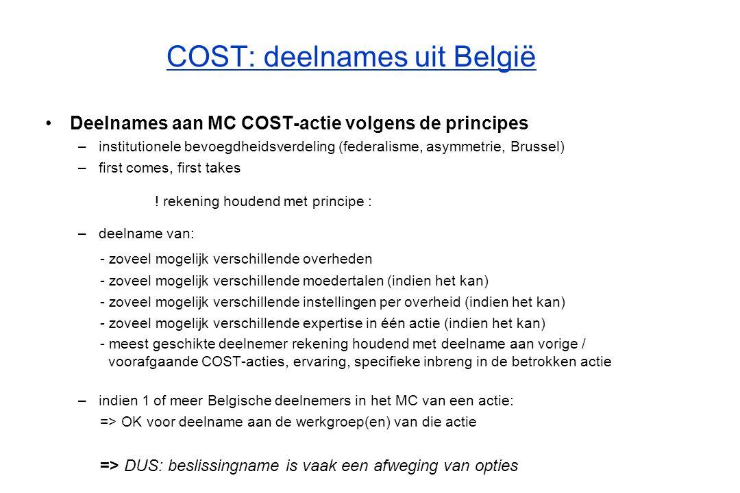 COST: deelnames uit België Rol Vlaamse COST-coördinator prioritair: regelen / aanmelden deelnemers uit Vlaamse instellingen aan COST-acties –na ontvangst van een volledig en correct ingevuld deelnameformulier door onderzoeker of onderzoeksgroep van een instelling die in aanmerking komt => (in)formele aanmelding bij de nationale COST-coördinator => ter bespreking legging van kandidatuur op volgende CIS/COST-overlegvergadering –verspreiden informatie nieuwe COST-acties aan geïnteresseerden (eveneens on-line te consulteren via de Vlaamse COST-webstek) –verspreiden uitnodiging opstartvergadering aan afgevaardigde of potentieel geïnteresseerde (indien België het MoU nog niet heeft ondertekend) –(vermeende) problemen oplossen die zich voordoen voor onderzoekers bij de uitvoering van de COST-actie of binnen de Belgische vertegenwoordiging zelf