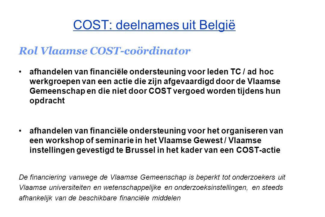 COST–secretariaat Vlaanderen Adres: Koning Albert II-laan 35, bus 10 1030 Brussel Tel : 02 553 58 60 Fax: 02 553 60 07 E-mail: COST@ewi.vlaanderen.be URL : www.ewi-vlaanderen.be/cost