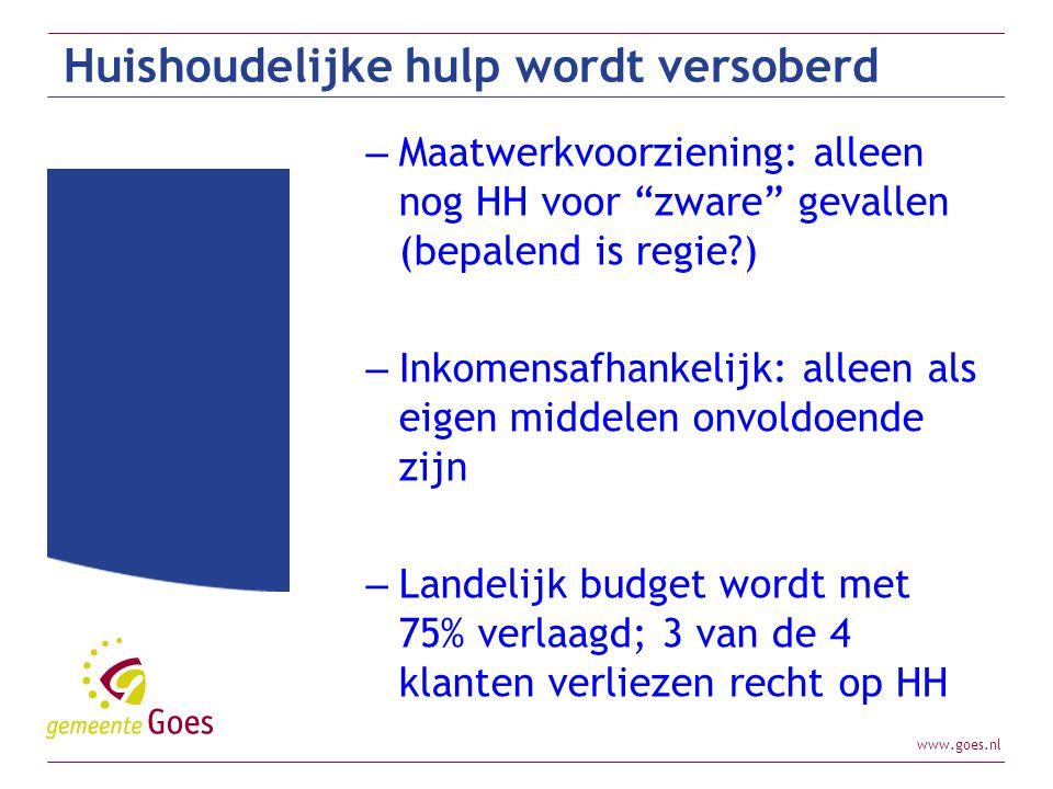 """www.goes.nl Huishoudelijke hulp wordt versoberd – Maatwerkvoorziening: alleen nog HH voor """"zware"""" gevallen (bepalend is regie?) – Inkomensafhankelijk:"""