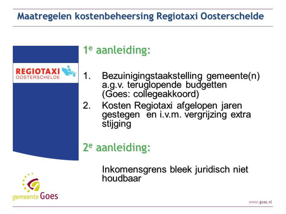 www.goes.nl Maatregelen kostenbeheersing Regiotaxi Oosterschelde Eerder vastgestelde maatregel: – Invoering kilometerbudget (max 2.000 km per jaar) per 1-1-2012 tegen gereduceerd tarief Opdracht aan werkgroep de volgende alternatieven uit te werken: – Aanpassen tarieven – Aanpassen systeemeisen