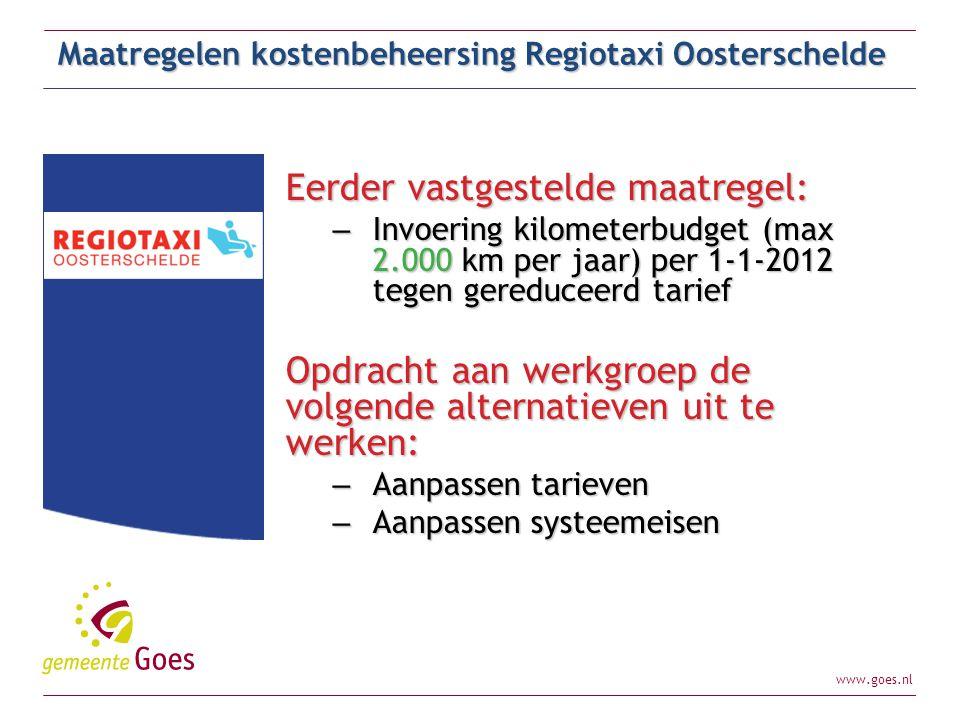 www.goes.nl Maatregelen kostenbeheersing Regiotaxi Oosterschelde Eerder vastgestelde maatregel: – Invoering kilometerbudget (max 2.000 km per jaar) pe