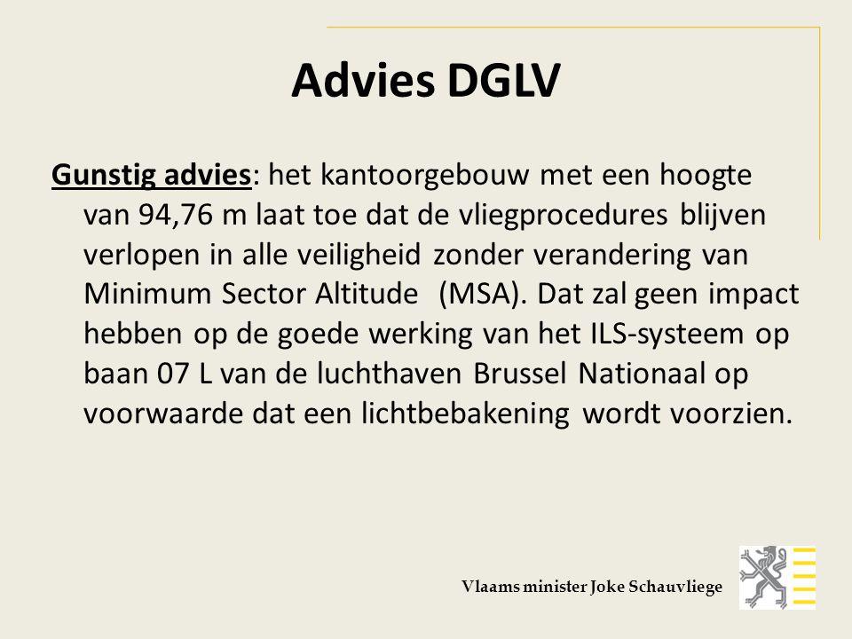 Advies DGLV Gunstig advies: het kantoorgebouw met een hoogte van 94,76 m laat toe dat de vliegprocedures blijven verlopen in alle veiligheid zonder verandering van Minimum Sector Altitude (MSA).