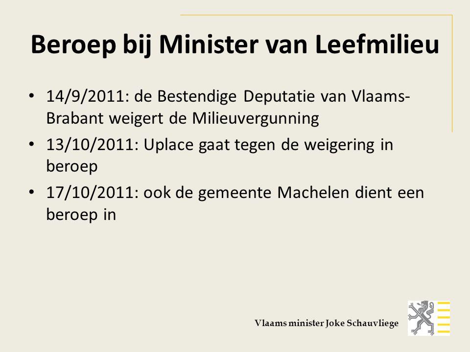 Beroep bij Minister van Leefmilieu 14/9/2011: de Bestendige Deputatie van Vlaams- Brabant weigert de Milieuvergunning 13/10/2011: Uplace gaat tegen de weigering in beroep 17/10/2011: ook de gemeente Machelen dient een beroep in Vlaams minister Joke Schauvliege